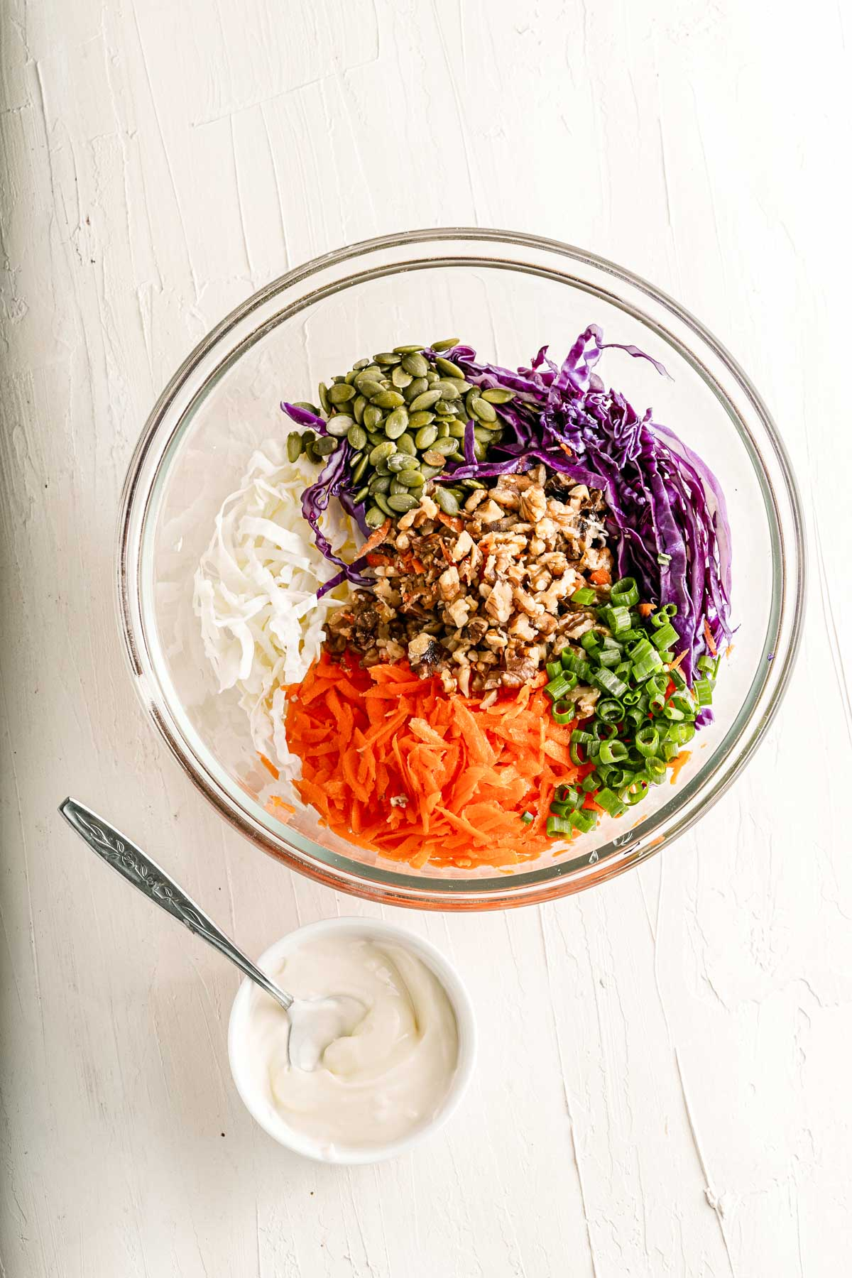 coleslaw ingredients in a bowl chopped
