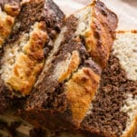 three slices of marbled banana bread loaf