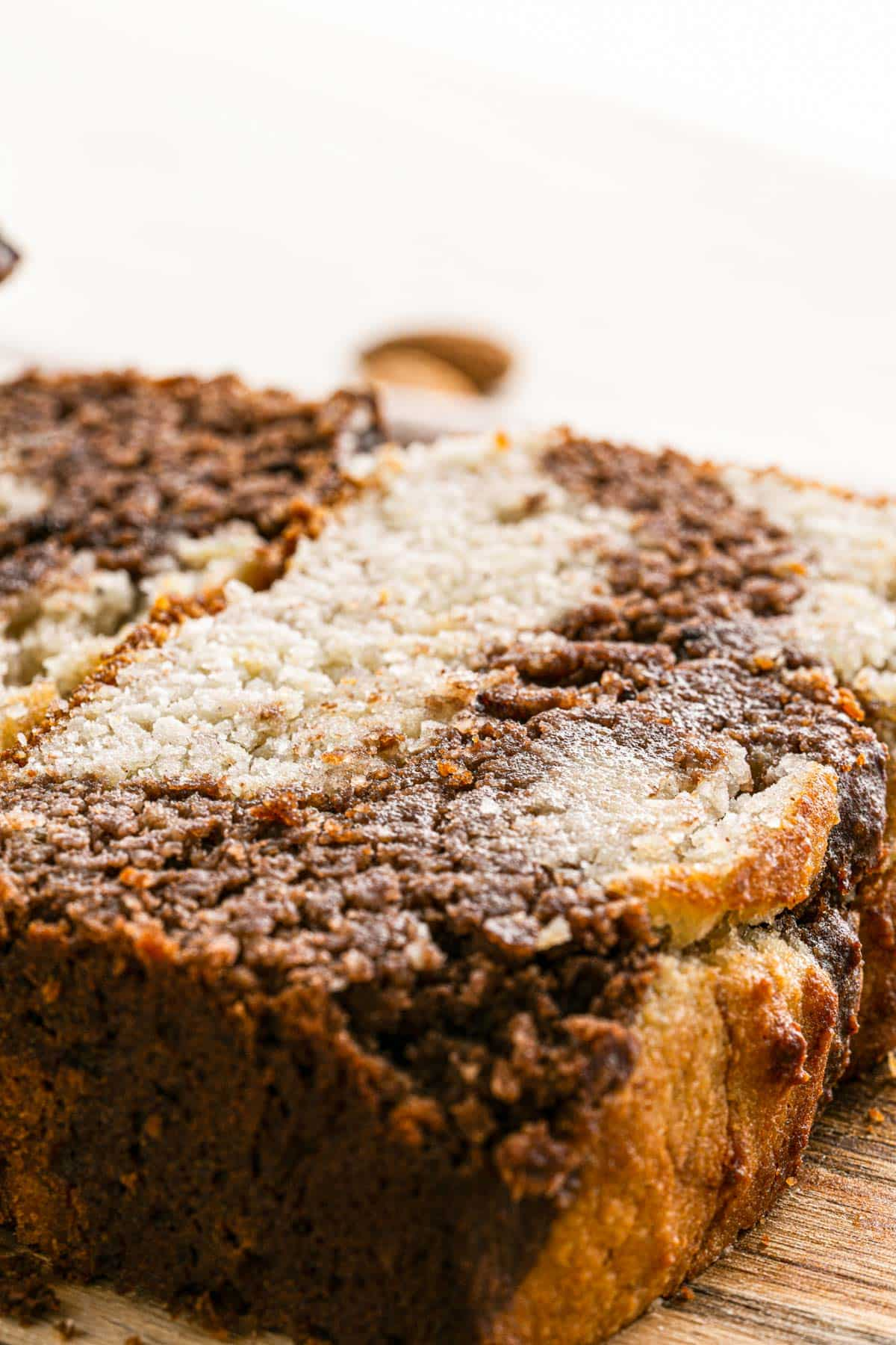 close up of a slice of swirled banana bread
