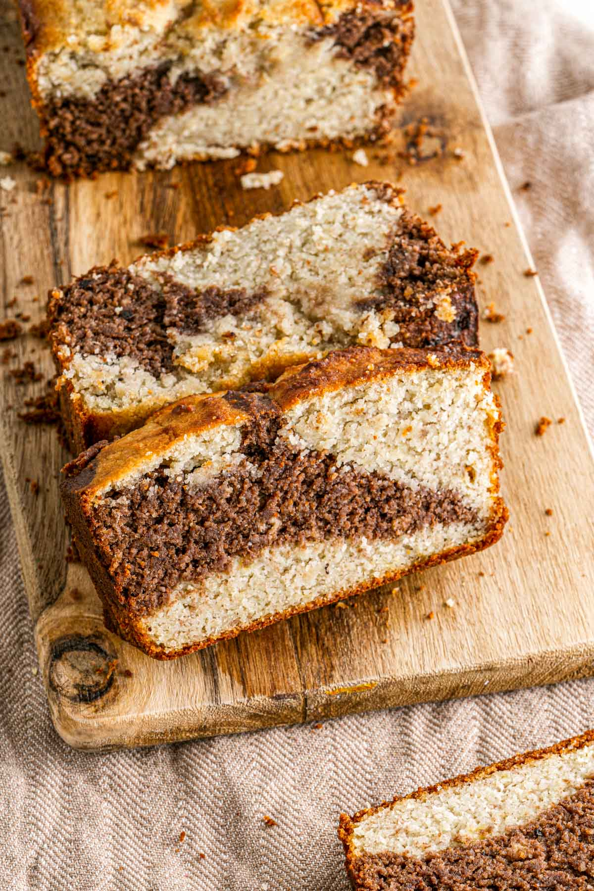 thick marbled slices of moist banana bread