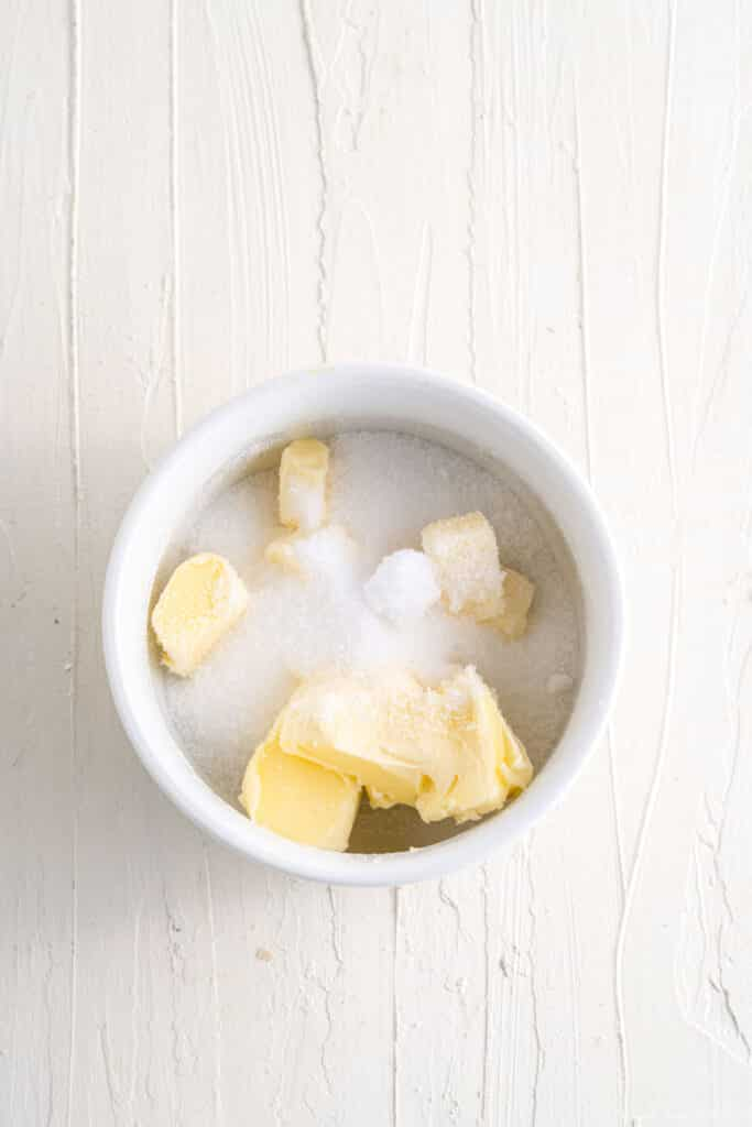 butter with erythritrol in a bowl
