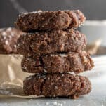 stack of chocolate no bake cookies