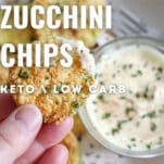 zucchini chips made in the air fryer with special sauce