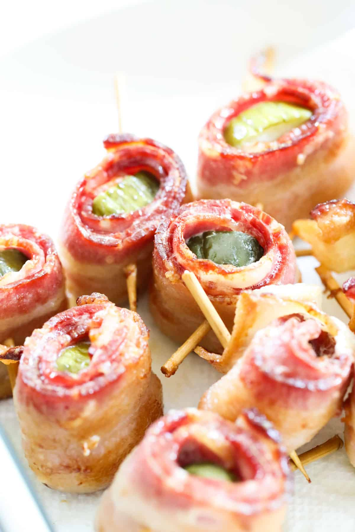 air fryer pickles wrapped in bacon with toothpicks