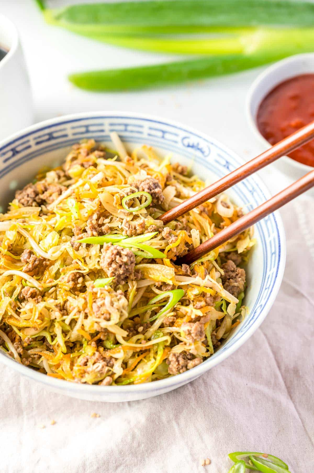 inside out egg roll dish with chopsticks