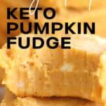 piece of keto pumpkin fudge