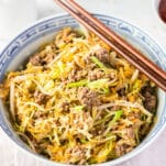 bowl with stir fry egg roll ingredients