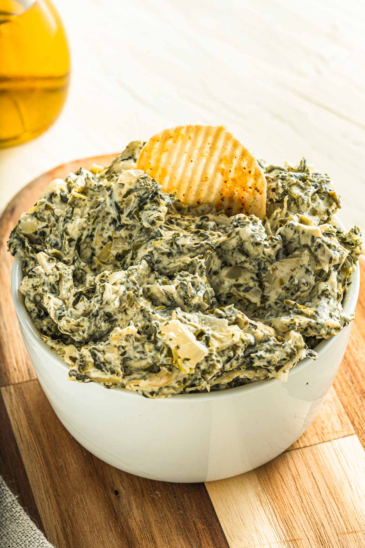 serving dish with spinach dip
