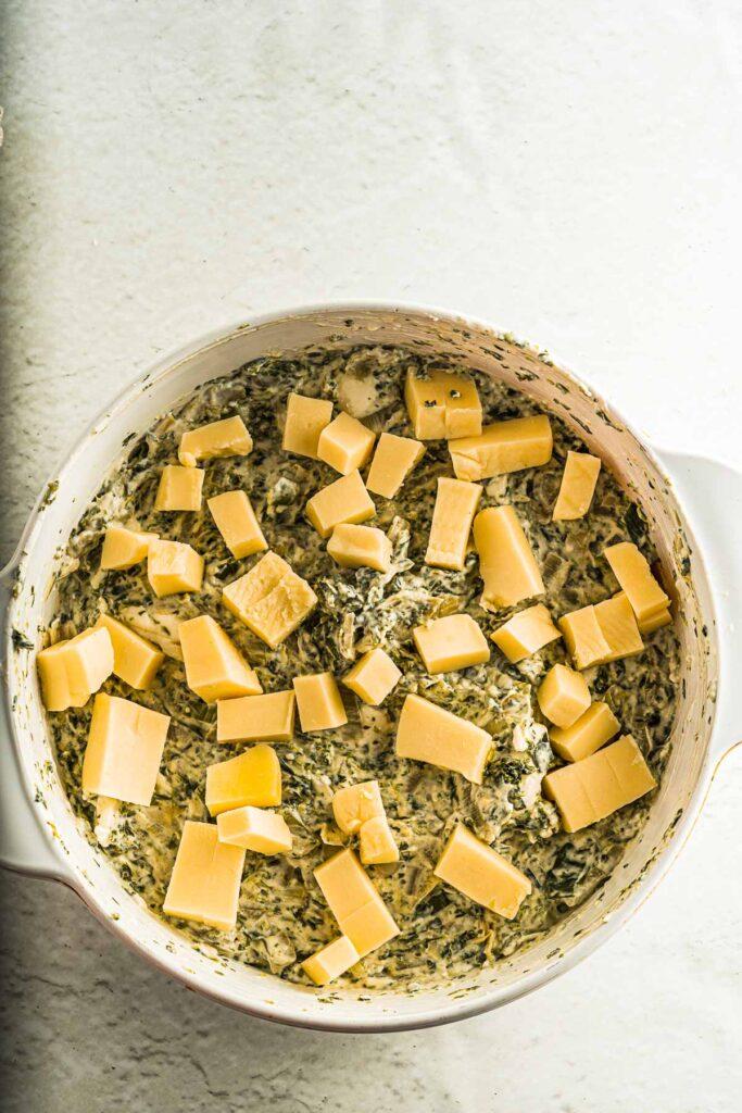 add mozzarella cheese to top of dish
