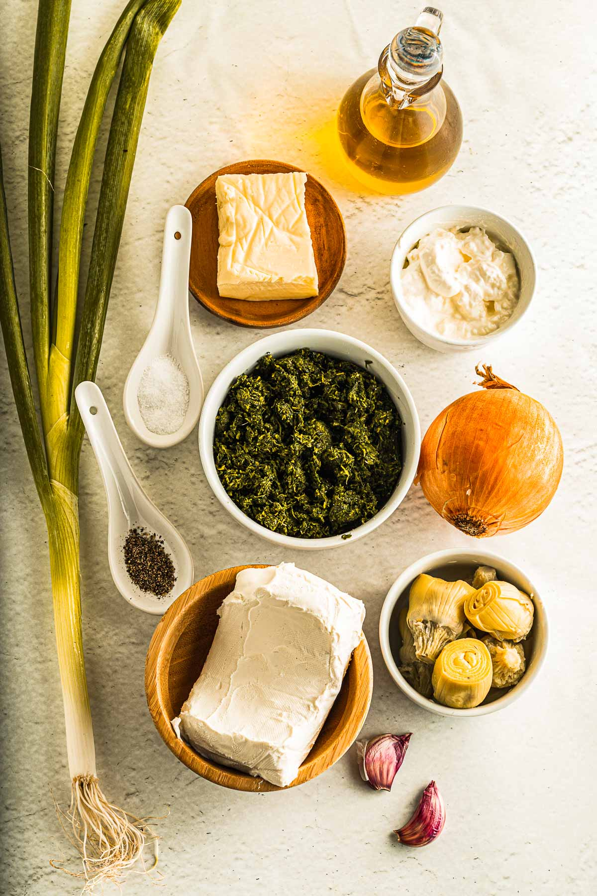 ingredients for keto spinach artichoke dip