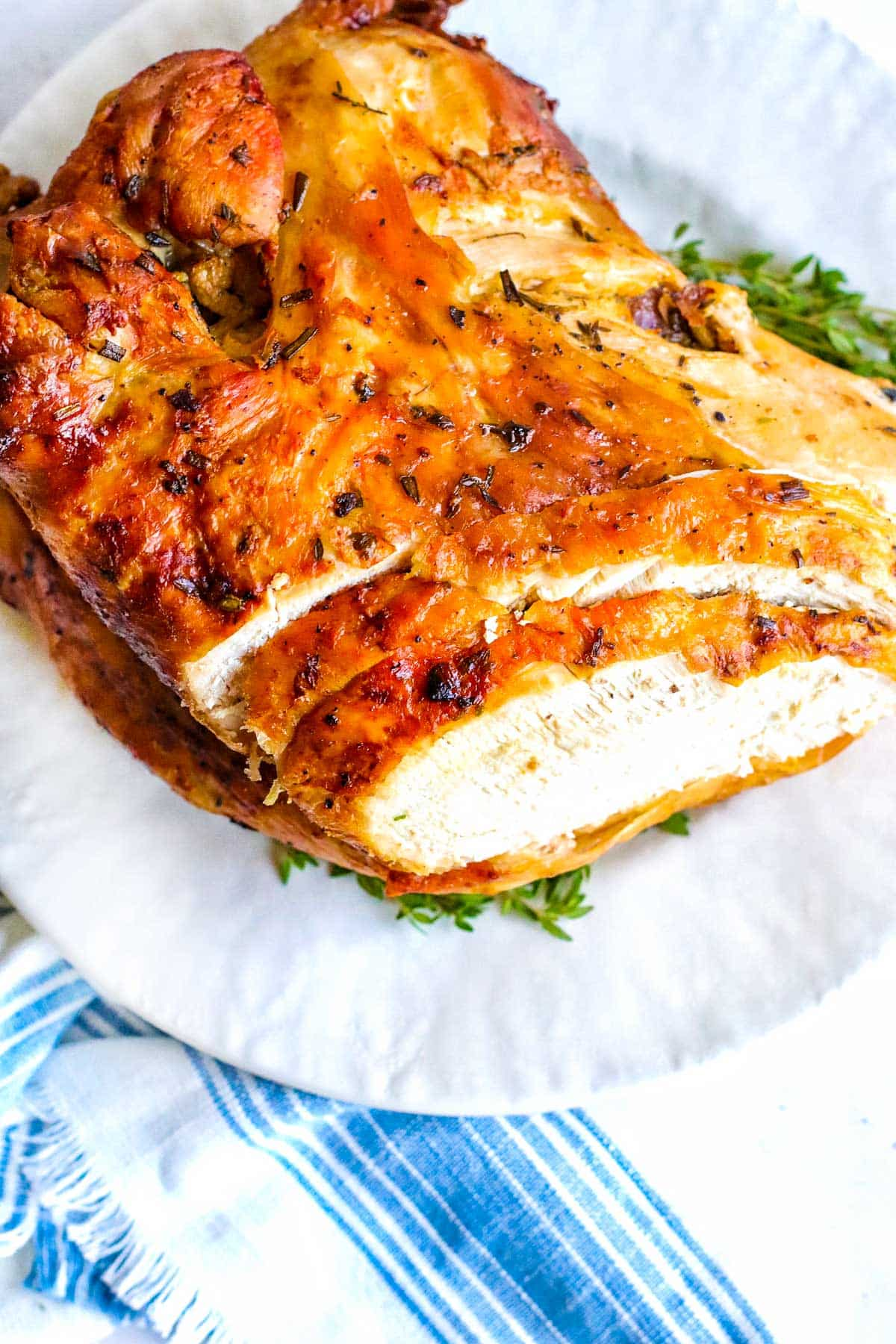 fully cooked golden brown turkey breast with crisp outside skin