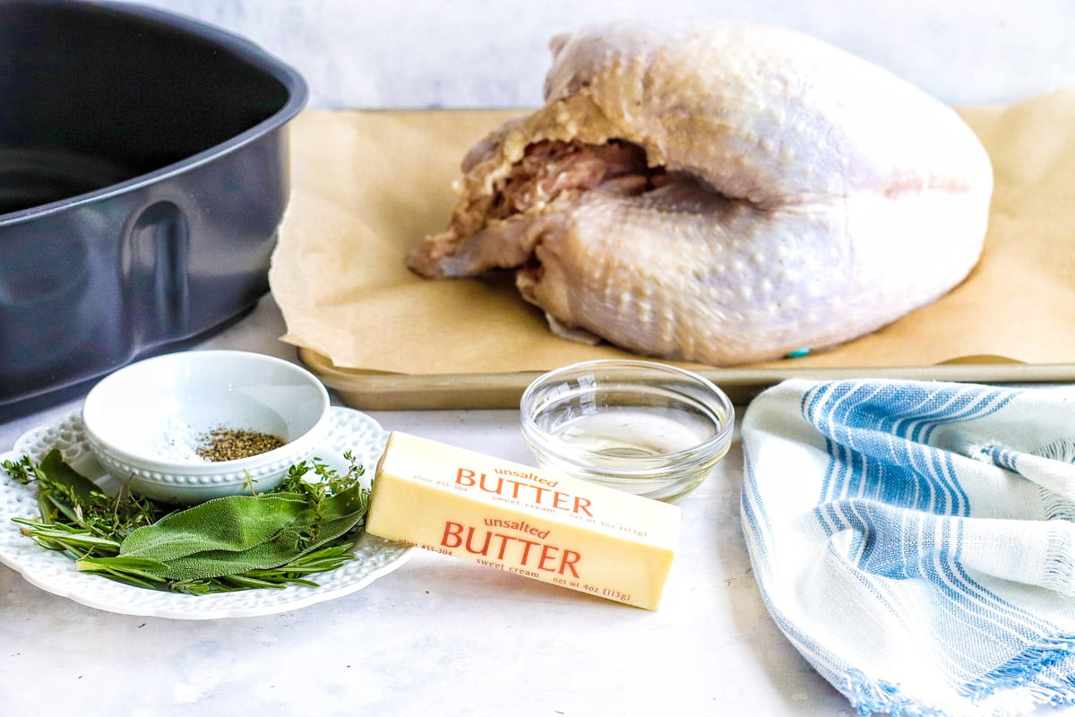 air fryer turkey breast ingredients with sage, rosemary, butter and oil