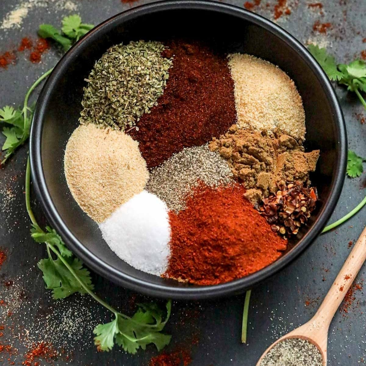 bowl full of spice blend for taco seasoning