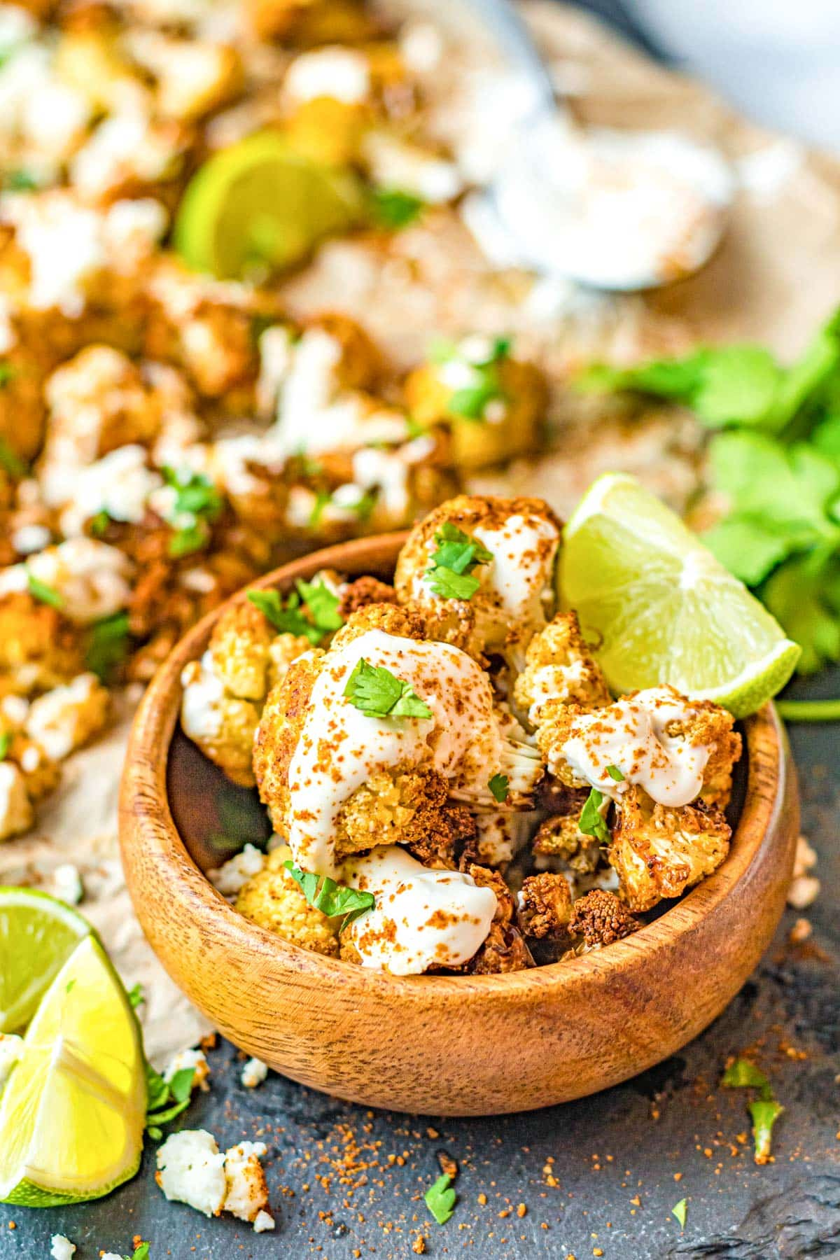 street style cauliflower corn with lime chili and cojita cheeses on top