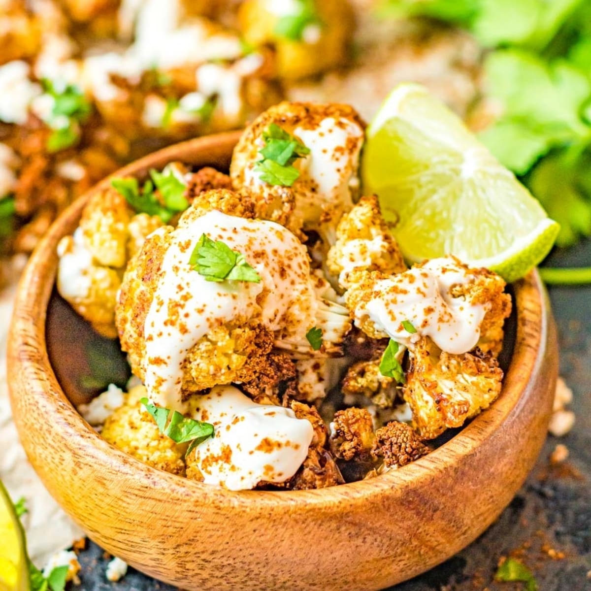 street style Mexican cauliflower with cilantro and chili lime seasoning