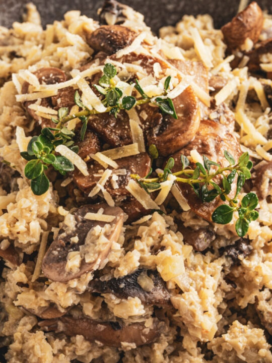 creamy risotto with mushrooms and fresh herbs